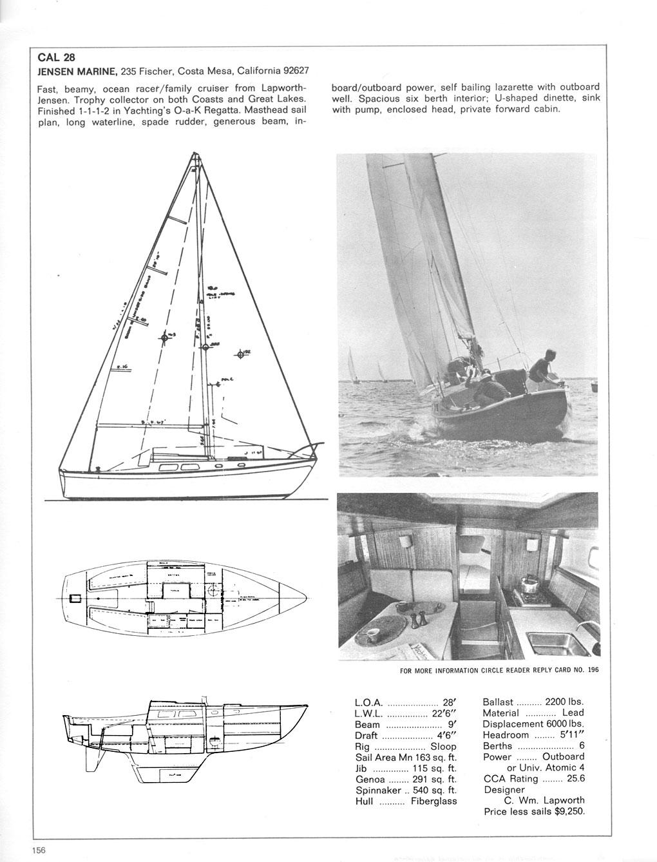 Cal 28 Bill Lapworth Cal Boat Sailboat Cal 28 Sailboat